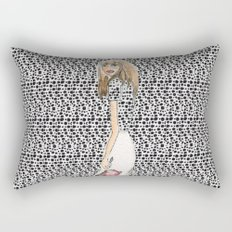 Red and Black Fashion Illustration Rectangular Pillow