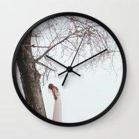 alone Wall Clocks featuring Alone by Jovana Rikalo