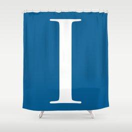 Serif I. White on Blue. Shower Curtain