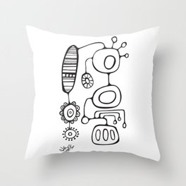 Orbs N Lines - Feather Flower Chime Throw Pillow