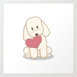 Toy Poodle Dog with Love Illustration Art Print