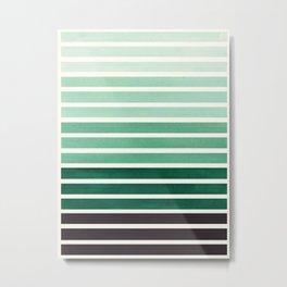 Watercolor Gouache Mid Century Modern Minimalist Colorful Deep Green Stripes Metal Print