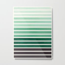 Watercolor Gouache Mid Century Modern Minimalist Colorful Deep Green Stripes Metal Print