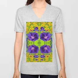 MORNING GLORIES WATER GARDEN REFLECTION Unisex V-Neck