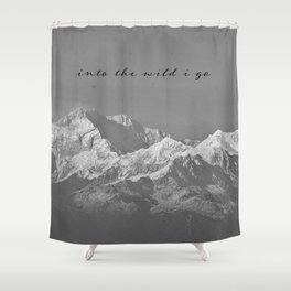 """""""into the wild i go"""" Mountain Landscape Shower Curtain"""