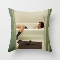 caleb troy Throw Pillows featuring Caleb. by Will Copeland