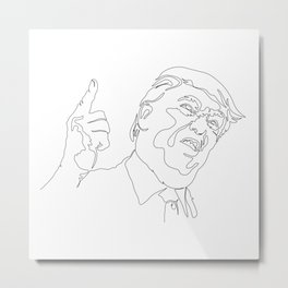 Drawing caricature of Donald Trump, serious face, pointing  finger up. Metal Print