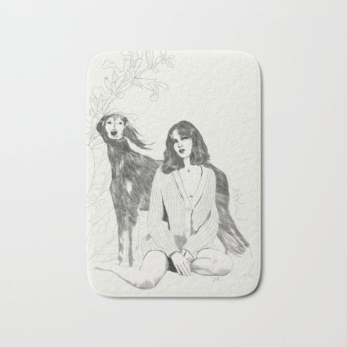 A Girl and Her Dog Bath Mat