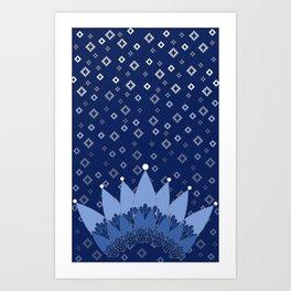 Rhapsody of Blues: Crown & Diamonds Art Print