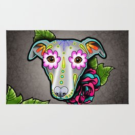 Greyhound - Whippet - Day of the Dead Sugar Skull Dog Rug