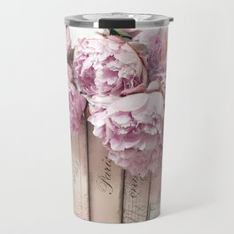 Shabby Chic Pink Peonies Paris Books Wall Art Print Home Decor Travel Mug