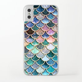Multicolor pink and aqua mermaid scales - Beautiful abstract glitter pattern Clear iPhone Case