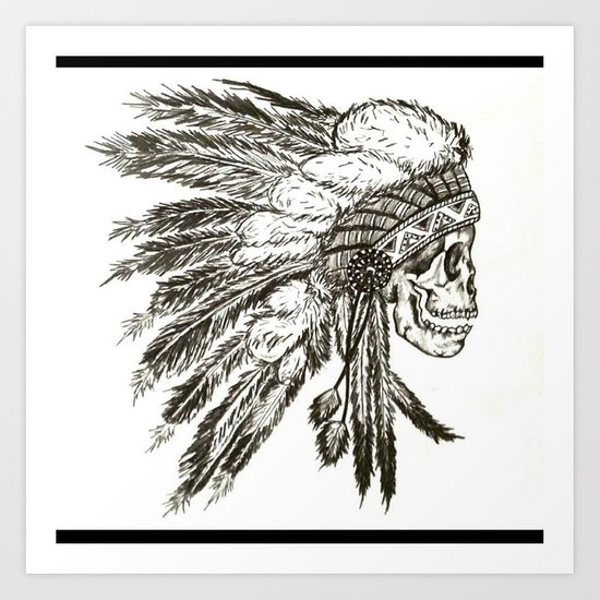 Native Skull Art Print