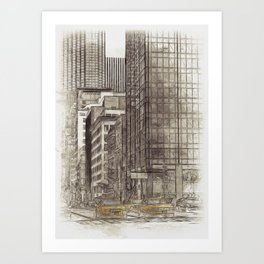 NYC Yellow Cabs NYPD - SKETCH Art Print