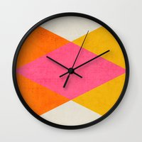 triangles Wall Clocks featuring summer triangles by her art