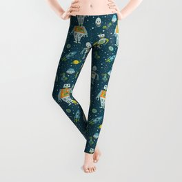Robots in Space - Blue + Green Leggings
