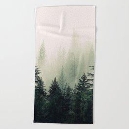 Foggy Pine Trees Beach Towel