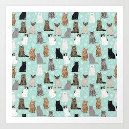 Cat snowflakes catsmas winter holiday pattern print pet portraits cat breed gifts Art Print