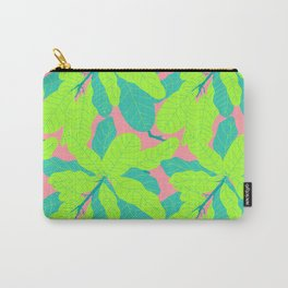 Tropicana Banana Leaves in Neon Peach + Lime Carry-All Pouch