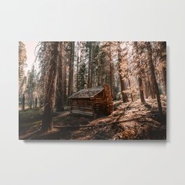Log Cabin in the Forest Metal Print
