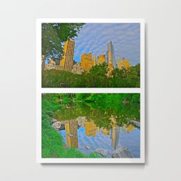 The Pond Reflections 3 - Central Park, NYC Metal Print