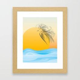 Flying bird - calligraphy Framed Art Print
