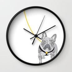 Typographic French Bulldog - Black and White Wall Clock