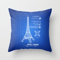 eiffel tower Throw Pillows featuring  Eiffel Tower by mewdew