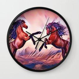 Wild Stallions Playing Wall Clock