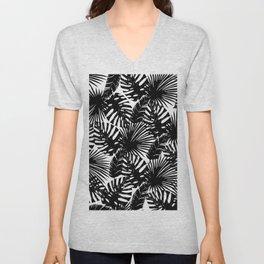 Modern black white watercolor tropical floral leaves Unisex V-Neck