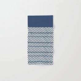 Herringbone Boarder Navy Hand & Bath Towel