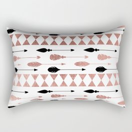 Chic bohemian black faux rose gold arrows feathers Rectangular Pillow