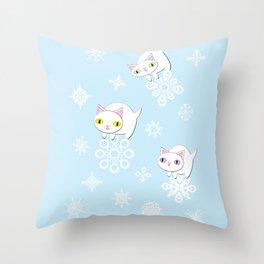 Three Feline Snowflake Pals Throw Pillow