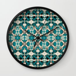 ikat geo mix patched in teal Wall Clock