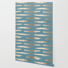 Abstract Painted Stripes Gold Tropical Ocean Blue Wallpaper