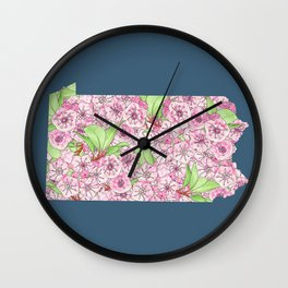 Pennsylvania in Flowers Wall Clock