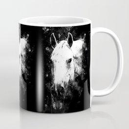 white horse face portrait watercolor splatters black white Coffee Mug