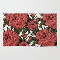 peonies Area & Throw Rugs featuring Peonies! by Natalie Clapp