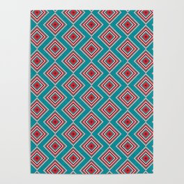 Check Pattern Teal #homedecor #retro Poster