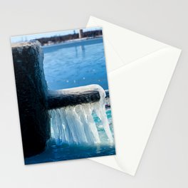 Frozen Mooring Cleat on the Dock, Dunkirk Pier Stationery Cards