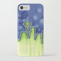 seattle iPhone & iPod Cases featuring Seattle  by Olechka