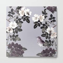 Birds and the Bees Blue Gray Metal Print