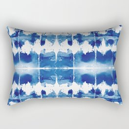 Shibori Tie Dye Indigo Blue Rectangular Pillow