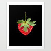strawberry Art Prints featuring strawberry by Arevik Martirosyan