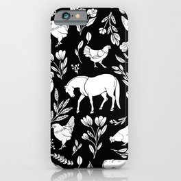Modern Folk Art Horse Pattern with Botanicals and Chickens iPhone Case