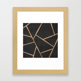 Dark Grey and Gold Textured Fragments - Geometric Design Framed Art Print