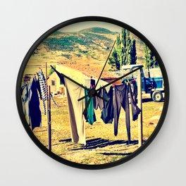 Laundry Day On The Farm Wall Clock
