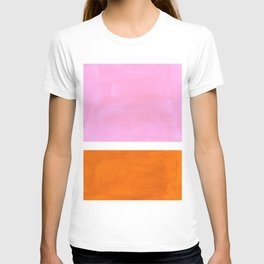 Pastel Neon Pink Yellow Ochre Mid Century Modern Abstract Minimalist Rothko Color Field Squares T-shirt