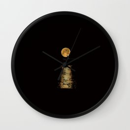 Korea style surf art series _ Moonlight surfer man Wall Clock