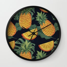 Oranges and Pineapple Pattern on Black Wall Clock